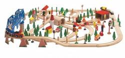 Набор Деревянная железная дорога Супер, 170 элементов, деревянная упаковка, WOODY-Olimptoy